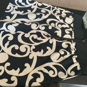 Loft black and white high waisted skirt